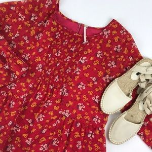 Free People red floral dress smocked front 10